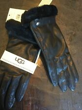UGG CLASSIC LEATHER SHEARLING CUFF SMART black GLOVES sz M - NWT $110