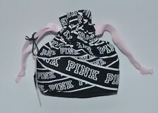 NEW VICTORIA'S SECRET PINK BLACK LINGERIE PANTY BAG POUCH DRAWSTRING CLOTH SMALL
