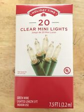 Holiday Time 20 Count Clear Mini Light Set--Green Wire Christmas Wedding NEW