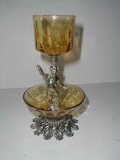 Brass Colored Metal Amber Glass 2 Tier Angel Cupid Cherub Votive Candle Holder