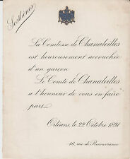 § FAIRE-PART NAISSANCE SOSTHÈNES DE CHANALEILLES - Orléans (Loiret) - 1891 §