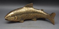 Chinese Culture Handmade Old Brass Statue Lucky Carp Koi Fish Sculpture e01