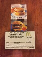 3 MCDONALDS EXTRA VALUE MEAL  Certificate 2017
