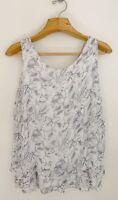GIUSY Italy Women's 100% Silk Blouse Sz M Sleeveless White Blue Floral Top