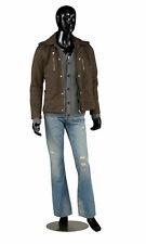 Male Mannequin Black Glossy Full Body Metal Base Clothing Display Fiberglass