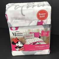 New Minnie Mouse Twin Sheet Set - Girls Bedding - Officially Licensed Disney