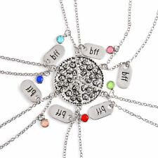 BFF Pizza Necklace Silver Color Best Friend Friendship Rhinestone Pendant