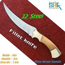 CUSTOM HANDMADE J2 STEEL FULL TANG HUNTING KNIFE INCLUDE LEATHER SHEATH
