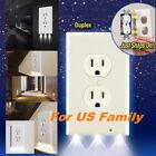 🔥Duplex Angel Night Light Sensor LED Plug Cover Wall Outlet Coverplate Bathroom