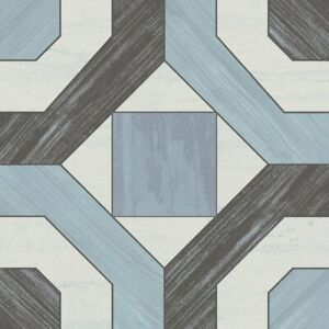 Classic 8x8 Deco Pattern Blue Black White Ceramic Mosaic Tile MTO0474