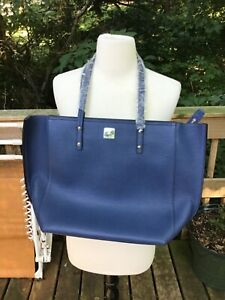 MCM SOPHIE MEDIUM BLUE LEATHER SHOPPER TOTE BLUE SILVER SOLD OUT NEW