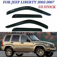 4pcs Smoke Sun/Rain Guard Vent Shade Window Visor Fit for Jeep Liberty 2002-2007