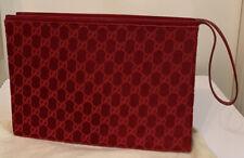 Gucci Tom Ford Red Velvet & Patent Leather Clutch Bag Envelope Monogram GG Logo