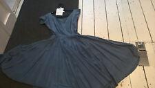 vintage 40s 50s dress Anne Fogarty brand satin crepe full circle steel blue