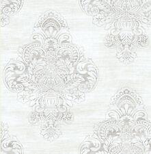 Tapete, Designtapete, Struktur, Ornamente, Rohseide, silber, weiß, perlmutt