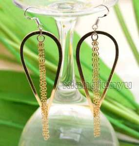 SALE Big Gold-color 22*50mm metal Drop with long 2.5''chain Dangle Earring-ea628