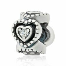 Entwined Love Hearts Spacer Charm Bead 925 Sterling Silver