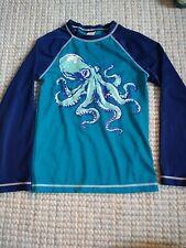 Gymboree Boy's Long Sleeve Rash Guard Octopus Blue Size 7/8 M GUC sun shirt