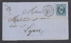 France Sc 15d on 1861 Self Folded Letter, Orleans-Lyon, fresh.