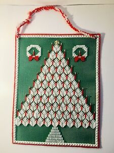 Vintage Handmade Needlepoint Cross Stitch Green Christmas Tree & Wreath Decor