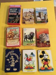 3x 1940s Pepys Playing Card Games. Pets, Shuffled Symphonies, British Towns