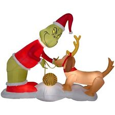 CHRISTMAS SANTA 6 FT DR SEUSS THE GRINCH MAX DOG  AIRBLOWN INFLATABLE YARD DECOR