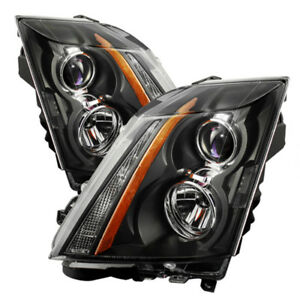 """For 08-14 Cadillac CTS """"V-STYLE"""" Black Front LEFT RIGHT Headlights Headlamp PAIR"""