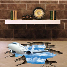 3D Blue Sky Cloud Plane PVC Living Room Roof Decals DIY Removable Stickers