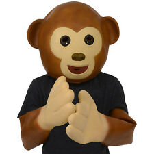 Emoji Monkey Mask & Gloves Full Over The Head Latex Cute Character Animal Mask