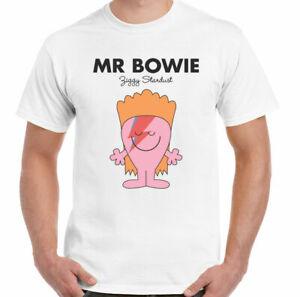 MR BOWIE T-SHIRT MEN PARODY ILLUSTRATION CARTOON 100% retro gift white S- 3xl