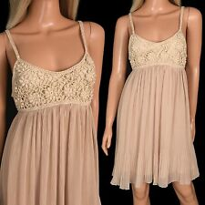 Ya Los Angeles Mini SILK SUN DRESS Nude Crochet Sheer Chiffon Accordion Pleats S