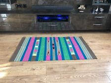 Colourful Handwoven Flat Weave Handloom Cotton Indian Dhurrie Rug 155 x 90