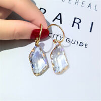 Ohrring Rund Frauen Crystal Drop Ohrringe Transparent Unregelmässig Glitter