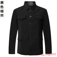 Mens Turn Down Collar Tunic Jacket Wool Suit Single Breasted Mao Chinese Blazer