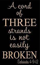 A CORD OF THREE STRANDS CREAM VINYL LETTERING