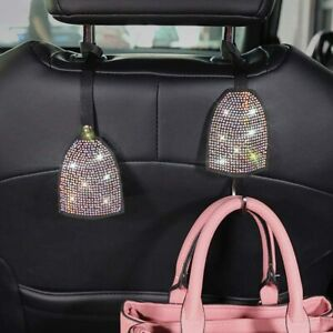 2pcs Bling Car Back Seat Hidden Hooks Headrest Hangers Luster Crystal Diamond