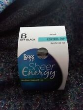 L'EGGS SHEER ENERGY CONTROL TOP PANTYHOSE-REINFORCED TOE-SIZE:B-OFF BLACK-1 PAIR