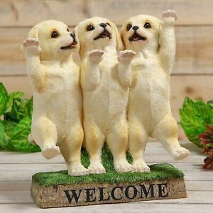Three Labrador Puppies Dogs Welcome Ornament Figurine Statue 29cm Home Garden