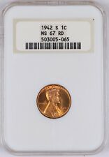 1942-S Lincoln Wheat Cent 1C NGC MS67 RD Old Fat Holder