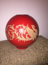 Rare Red Etched Gold Dragon Gilded Glass Parlor Oil Lamp Globe Shade