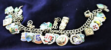 Vintage SILVER Braclet with 41 Silver & Enamel Charms - 18cm - 58g in Weight