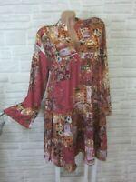 Hippie Blogger Hängerchen Kleid Tunika Volant Print 36 38 40 42 Neu K467 ITALY