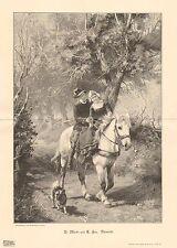 Sidesaddle, Horse, Boy & Girl Share A Ride, Dog, 1900 German Antique Art Print