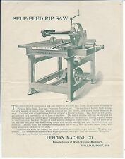 c1880 Illustrated Adv Circular, Lehman Machine Co, Williamsport PA, Rip Saw