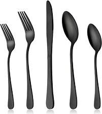 20Pcs Modern Black Silverware 304 Stainless Steel Dinner Flatware Cutlery Set