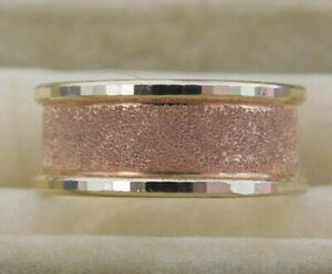 Gorgeous Two-tone10K Solid Rose & Yellow Gold Wedding Band Ring Size 7