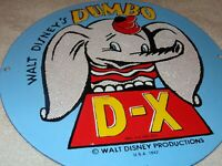 "VINTAGE 1942 WALT DISNEY DUMBO D-X 11 3/4"" PORCELAIN METAL DX GASOLINE OIL SIGN!"