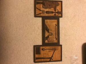 3 Hand Carved Wood wall hang plaques panels carving Windmill Barn Farm watering