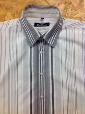 men's BEN SHERMAN (3) Large, White, Grey Striped Shirt. Long Sleeve. Good Cond.