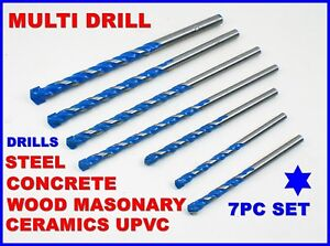 Drill Bits Multi Materials Set All In One Hole Kit Metal Masonry Steel Concrete